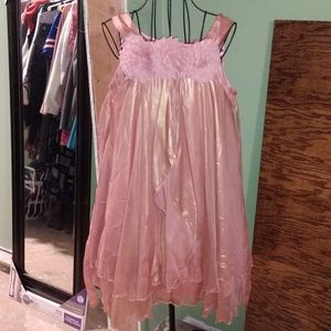 Rose Gold Baby Doll Dress with rosettes